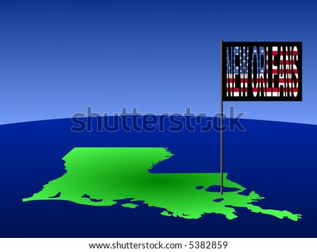 Map of Louisiana with position of New Orleans marked by flag pole illustration - stock vector