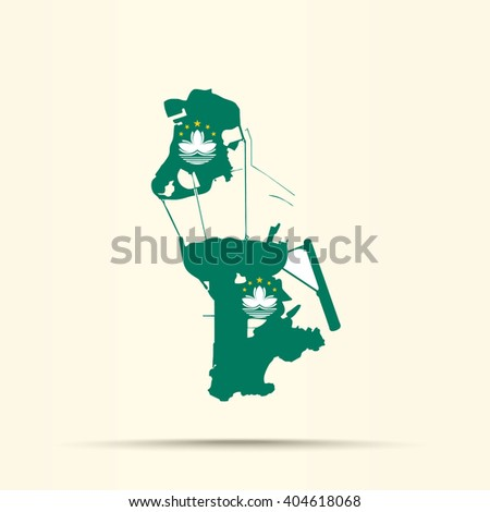 Map of Macau in Macau  flag colors - stock vector