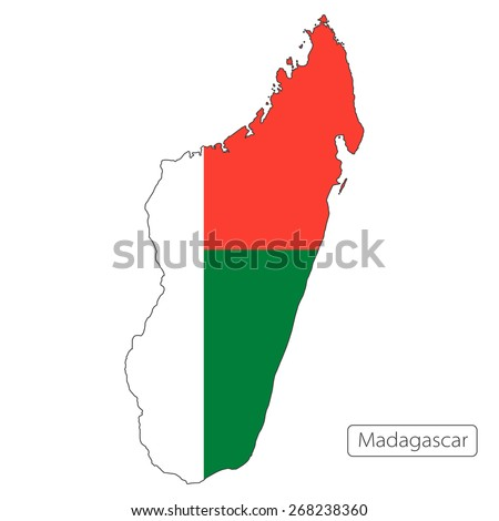 Map of Madagascar with an official flag. Illustration on white background - stock vector