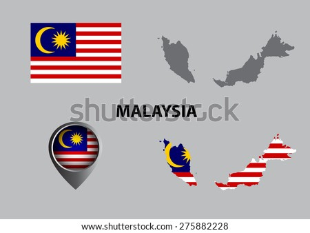 Map of Malaysia and symbol with pointer
