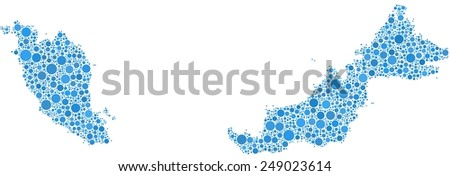Map of Malaysia - Asia - in a mosaic of blue bubbles - stock vector
