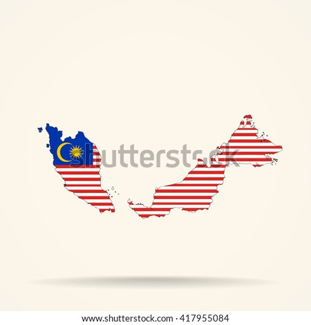 Map of Malaysia in Malaysia flag colors - stock vector