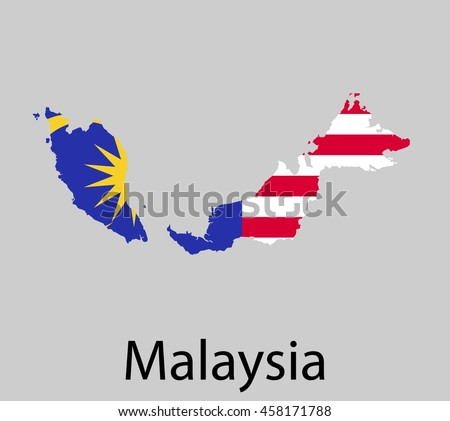 Map of Malaysia with flag. Vector illustration.
