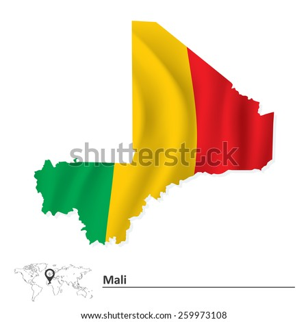 Map of Mali with flag - vector illustration - stock vector