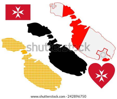 map of Malta in different colors on a white background - stock vector