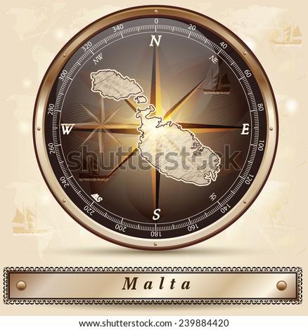 Map of Malta with borders in bronze - stock vector