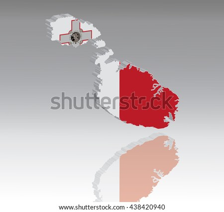 Map of Malta with flag 3D, silhouette, reflection, EPS10 vector