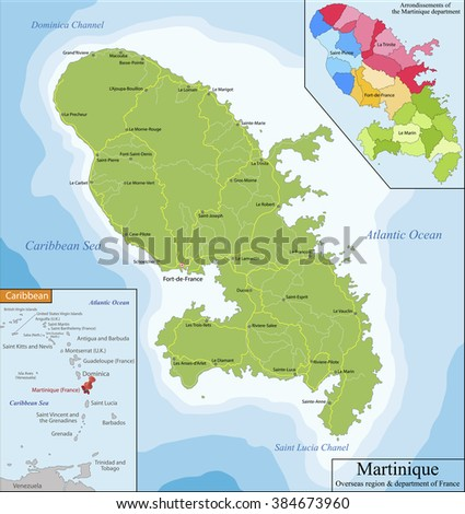 Map of Martinique - stock vector