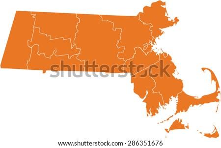 Map Massachusetts Stock Vector Shutterstock - Map of massachussets
