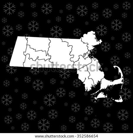 map of Massachusetts - stock vector