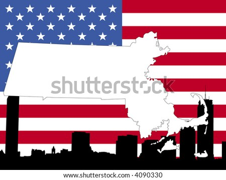 map of Massachusetts on American flag with Boston skyline - stock vector