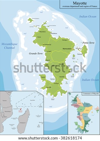 Map of Mayotte - stock vector