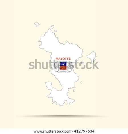 Map of Mayotte in Mayotte flag colors - stock vector