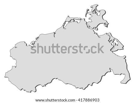 Map Mecklenburgvorpommern Germany Stock Vector 417886903 Shutterstock