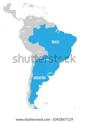 Map mercosur countires south american trade vector de map of mercosur countires south american trade association blue highlighted member states brazil gumiabroncs Choice Image
