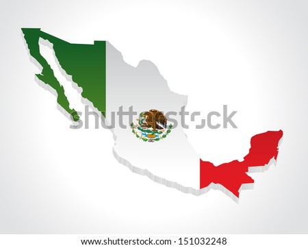 Map of mexico in 3d - stock vector