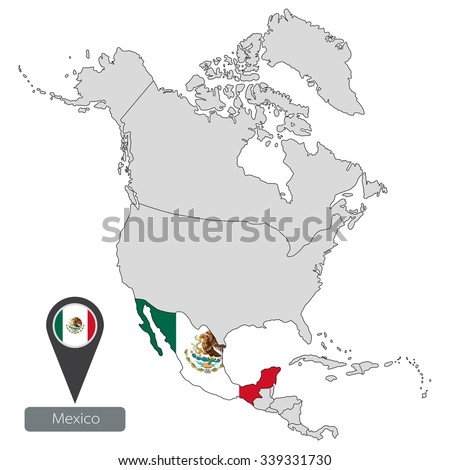 map of mexico with an official flag location in north america