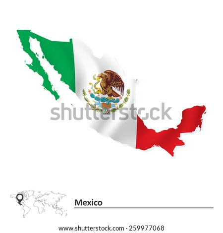 Map of Mexico with flag - vector illustration - stock vector