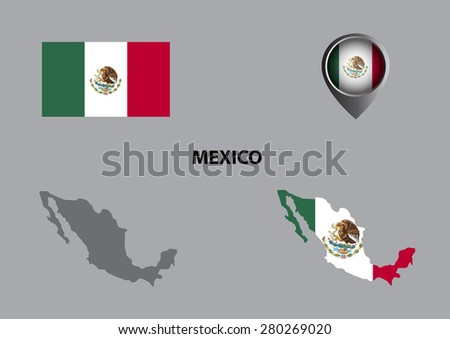 Map of Mexio and symbol - stock vector
