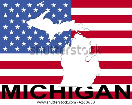 map of Michigan on American flag illustration