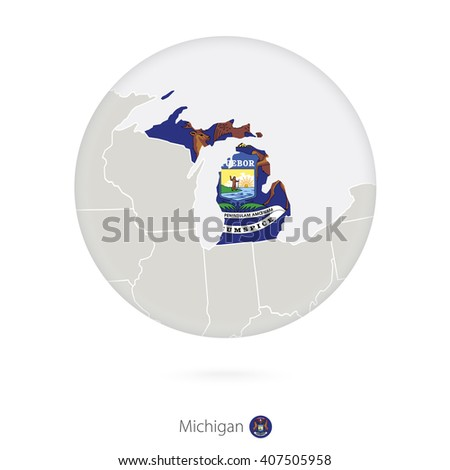 Map Of Michigan State And Flag In A Circle Michigan Us State Map Contour With