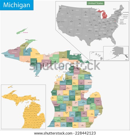Michigan State Stock Images RoyaltyFree Images Vectors - Us map michigan state