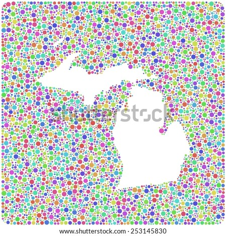 Map of Michigan - USA - into a square icon. Mosaic of harlequin bubbles