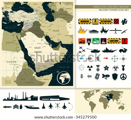 Map Of Middle East And Asia With A Military Power Icon Set. - stock vector