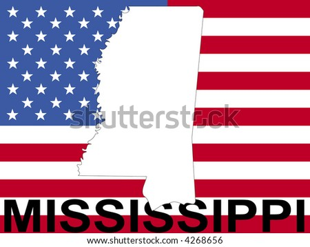 map of Mississippi on American flag illustration