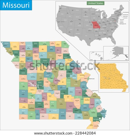 Map of Missouri state designed in illustration with the counties and the county seats - stock vector