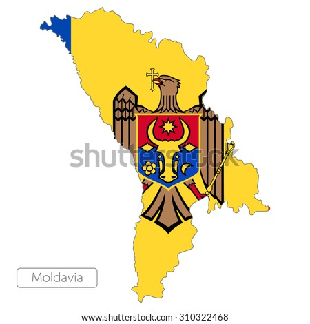 Map of Moldavia with an official flag. Europe. Illustration on white background