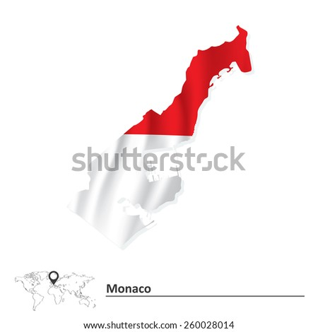 Map of Monaco with flag - vector illustration