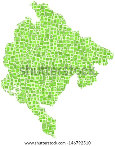 Map of Montenegro - Europe - in a mosaic of green squares