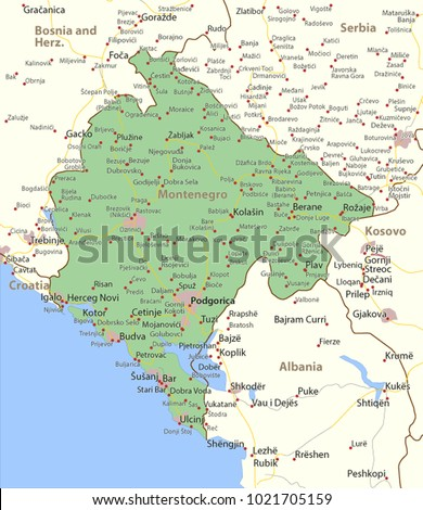 Map Montenegro Shows Country Borders Urban Stock Vector HD Royalty