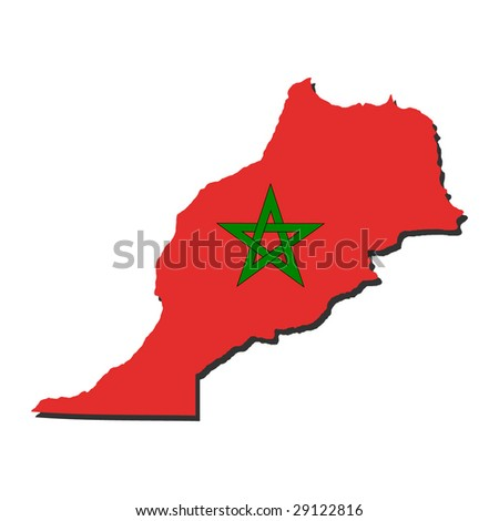map of Morocco and their flag illustration