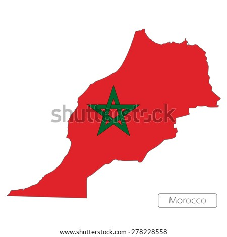 Map of Morocco with an official flag. Illustration on white background
