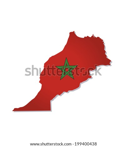 map of morocco with the image of the national flag
