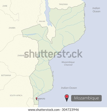 Africa map mozambique on