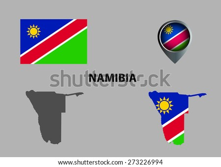 Map of Namibia and symbol
