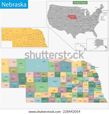 Map of Nebraska state designed in illustration with the counties and the county seats - stock vector