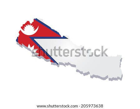 map of Nepal with the image of the national flag