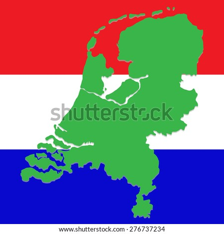 Map of Netherlands against the background of the national flag - stock vector