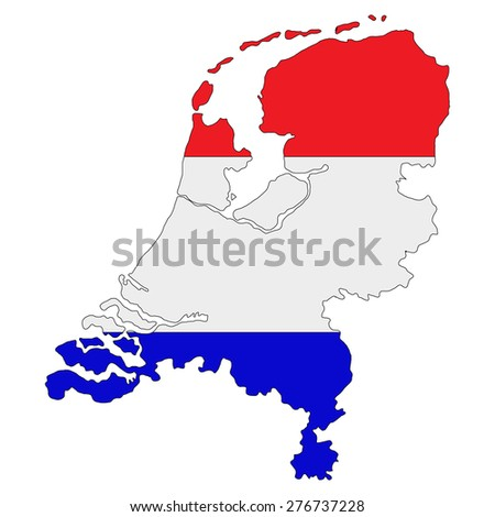 Map of Netherlands painted in the colors of the national flag - stock vector