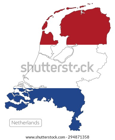 Map of Netherlands with an official flag. Illustration on white background - stock vector