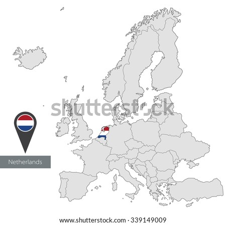 Map Netherlands Official Flag Location Europe Stock Vector 339149009