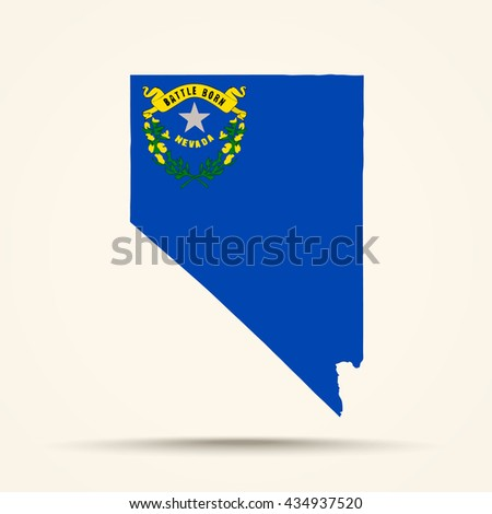 Map of Nevada in Nevada flag colors