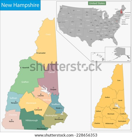 New Hampshire Map Stock Images RoyaltyFree Images Vectors - Map of new hampshire