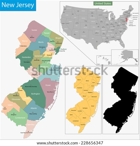 New Jersey State Map Stock Images RoyaltyFree Images Vectors - Map of the state of new jersey