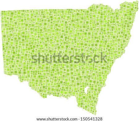 Map of New South Wales - Australia - in a mosaic of green squares