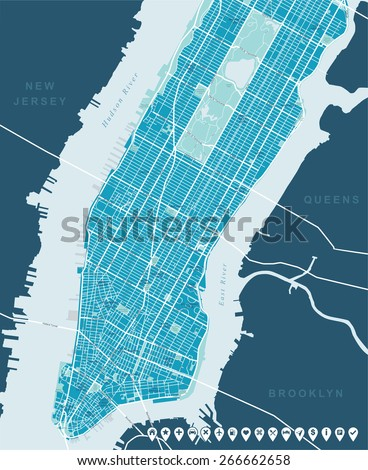Map of New York - stock vector